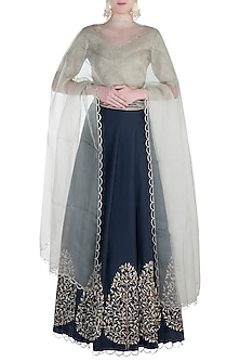 Mint and Navy Blue Embroidered Lehenga Set by Payal Singhal