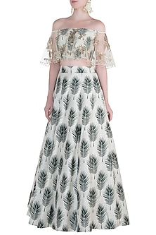 Cream Printed and Embroidered Blouse with Lehenga Skirt by Payal Singhal