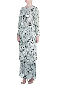 Mint Printed and Embroidered Cowl Kurta with Palazzo Pants by Payal Singhal