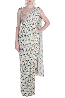Off White Printed Saree with Blush Tassels Blouse by Payal Singhal