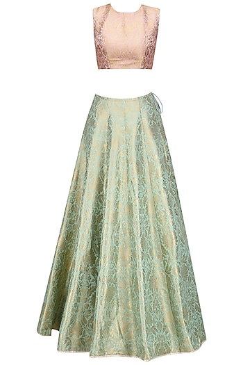 Dusky Rose and Mint Brocade Lehenga Set by Payal Singhal