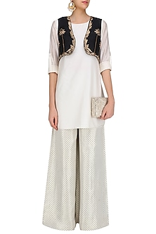 Off White Kurta Set with Embroidered Jacket by Payal Singhal