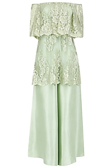 Mint Chantilly Lace Off Shoulder Kurta Set by Payal Singhal
