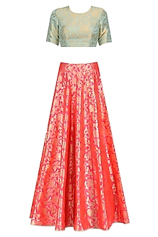 Mint and Hot Pink Brocade Lehenga Set by Payal Singhal