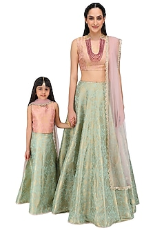 Dusky Rose and Mint Brocade Lehenga Set For Kids by Payal Singhal