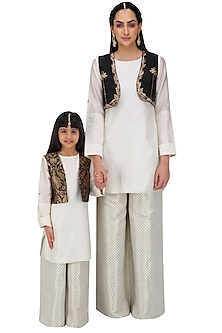 Off White Kurta Set with Black Short Jacket For Kids by Payal Singhal