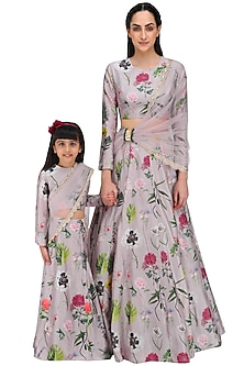 Lilac Printed Lehenga Set For Kids by Payal Singhal