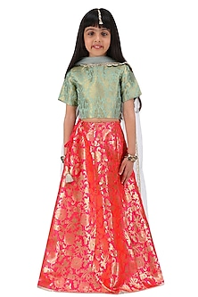 Blush and Mint Embroidered Lehenga Set For Kids by Payal Singhal