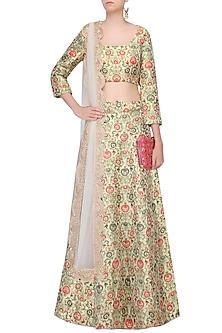 Multicolored ornate floral pattern brocade lehenga set by Payal Singhal