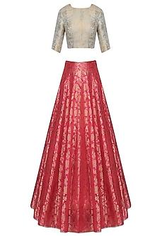 Aqua Blue and Pink Ornate Brocade Lehenga Set by Payal Singhal