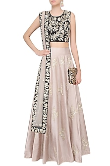 Black and stone color nagmeh style lehenga set by Payal Singhal