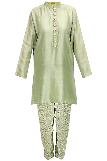Pale green chantility lace kurta set by Payal Singhal