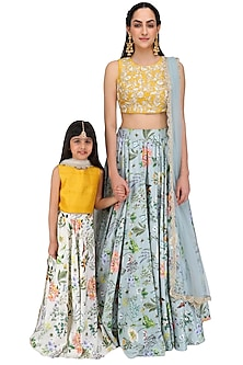 Mother and Daughter Mustard Yellow and Blue Lehenga Set by Payal Singhal