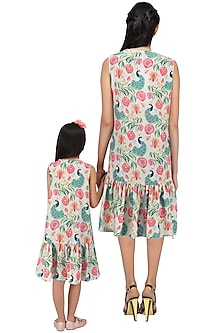 Mother and Daughter Khaki Printed Frill Dress Set by Payal Singhal