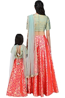 Mother and Daughter Mint and Hot Pink Brocade Lehenga Set by Payal Singhal