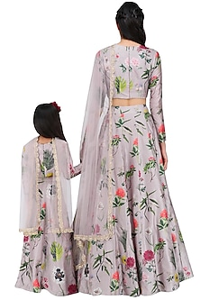 Mother and Daughter Lilac Printed Lehenga Set by Payal Singhal
