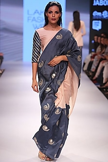 Blush and navy half and half embroidered saree with blush blouse by Payal Singhal
