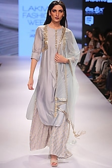 Powder blue embroidered kurta with Benarasi ankle length palazzo pants by Payal Singhal
