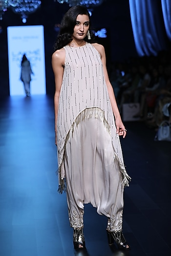 Stone Raised Hem Tunic and Embroidered Pants Set by Payal Singhal