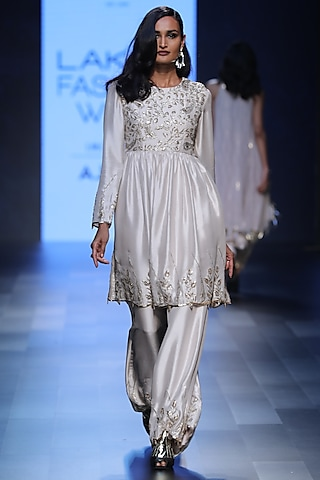 Stone Embroidered Short Anarkali and Palazzo Pants Set by Payal Singhal