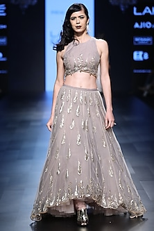 Blush and Ash Grey Embroidered Lehenga Set by Payal Singhal