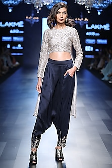 Grey Cropped Embroidered Anarkali and Navy Blue Pants Set by Payal Singhal