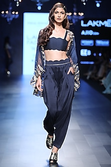 Navy Blue Bustier, Pants and Feather Embroidered Cape by Payal Singhal