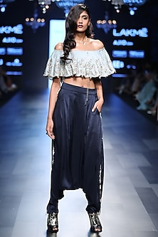 Powder Blue Ruffled Off Shoulder Top and Pants Set by Payal Singhal