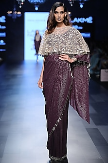 Purple Saree, Bustier and Stone Embroidered Cape Set by Payal Singhal