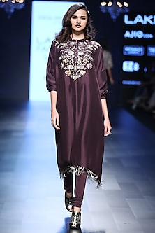 Purple Embroidered Tassel Kurta Set by Payal Singhal