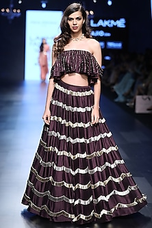Purple Ruffled Blouse and Fringe Tassel Lehenga Set by Payal Singhal
