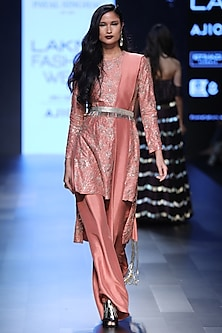 Coral Fan Embroidered Kurta and Palazzos with Waistbelt by Payal Singhal