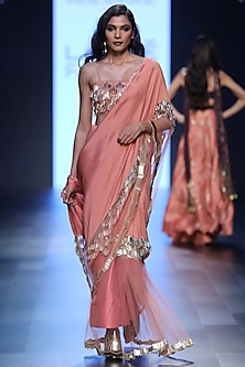 Coral Half and Half Saree with Fringed Tasseled Bustier by Payal Singhal