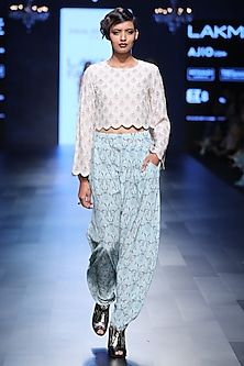 Blush Fan Print Embroidered Crop Top and Pants Set by Payal Singhal