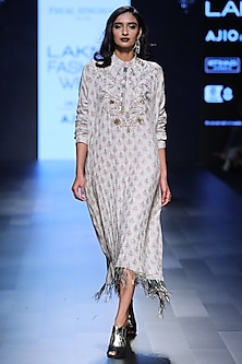 Blush Fan Print and Embroidered Oversized Dress by Payal Singhal