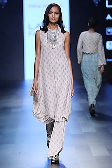 Blush Fan Print Cowl Kurta and Palazzo Pants Set by Payal Singhal