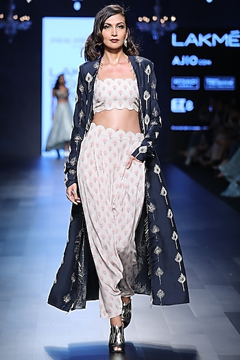 Navy Blue Feather Motifs Jacket, Bustier and Pants Set by Payal Singhal