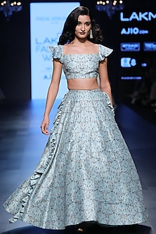 Aqua Blue Deco Print Off Shoulder Blouse and Lehenga Set by Payal Singhal