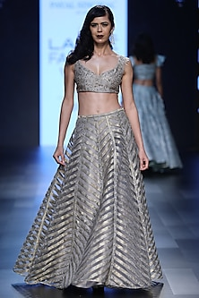 Grey Embroidered Blouse and Brocade Lehenga Set by Payal Singhal