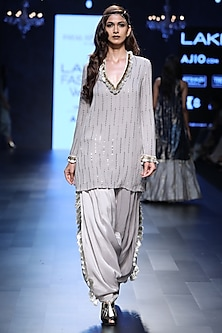 Grey Embroidered Kurta and Tasseled Salwar Pants Set by Payal Singhal