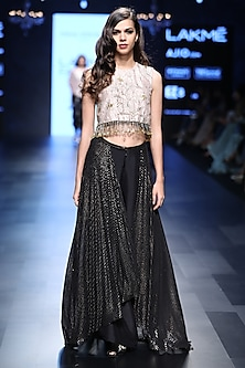 Blush Deco Jaal Embroidered Crop Top and Lehenga Palazzos Set by Payal Singhal
