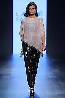 Blush Kaftan Tunic, Bustier and Feather Motifs Pants Set by Payal Singhal