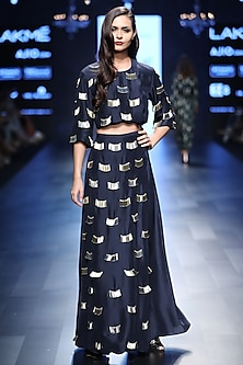 Navy Blue Embroidered Fringe Tassels Crop Top with Palazzo Pants by Payal Singhal