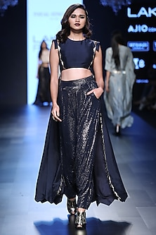 Navy Blue Cropped Anarkali and Mukaish Work Pants Set by Payal Singhal