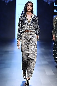Navy Blue Embroidered Crop Top and Pants Set by Payal Singhal