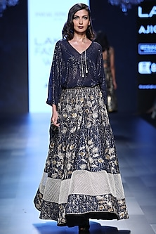 Navy Blue Kaftan Tunic and Deco Jaal Embroidered Lehenga Set by Payal Singhal