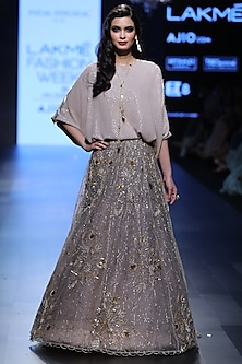 Blush and Ash Grey Kaftan Tunic with Embroidered Lehenga Skirt by Payal Singhal