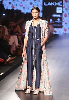 Navy blue camisole with mor print dupion silk jacket by Payal Singhal