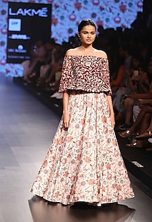 Pomergranate off shoulder blouse with pleated skirt by Payal Singhal