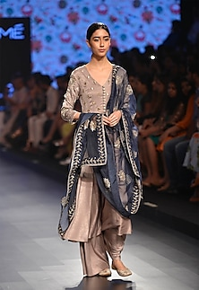 Sand colored anarkali with palazzo pants and embroidered dupatta by Payal Singhal